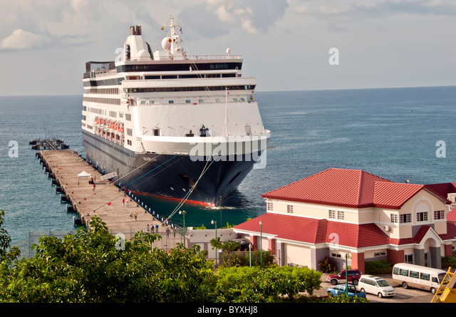 Cruise ship docked at Grenada cruise port terminal, St Georges Grenada - Stock Image