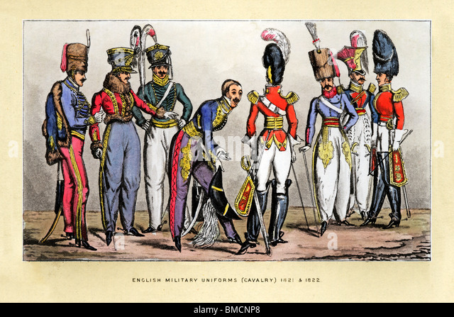 English Cavalry Uniforms, 1822 print of the fancy uniforms of officers parading their finery to each other - Stock Image