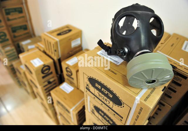 Gas masks in Gas masks distribution station - Stock Image