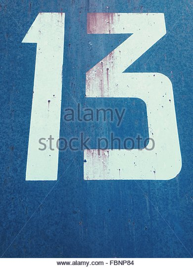 Number 13 Painted On Wall - Stock-Bilder