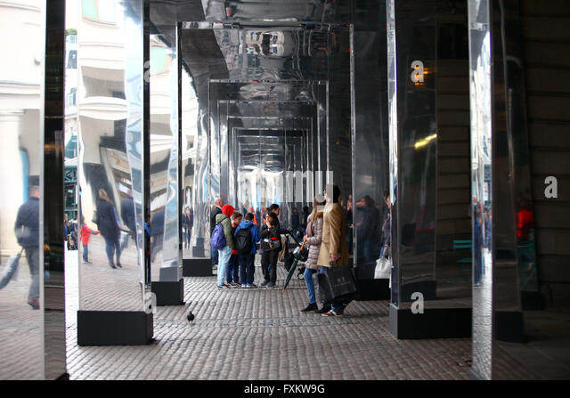 London 16 April 2016 - Covent Garden is wrapped with 32,000 sq ft of mirrors. Reflect London is a new project, created - Stock Image