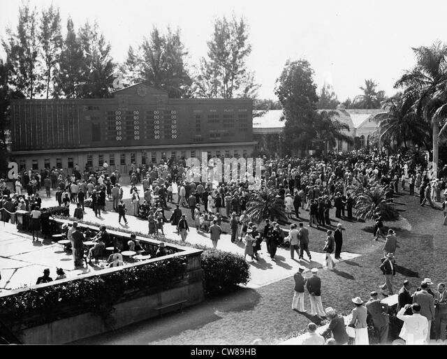 Totalizer Score Board, Hialeah Racetrack, Florida, 1942 - Stock Image