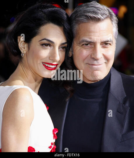 Los Angeles, California, USA. 1st February, 2016. George Clooney and Amal Clooney at the World premiere of 'Hail, - Stock Image
