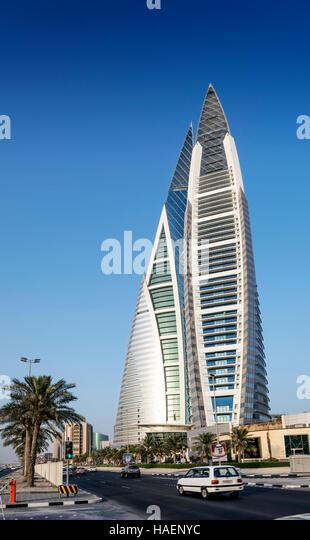 world trade center modern landmark skyscraper in central manama city bahrain - Stock Image