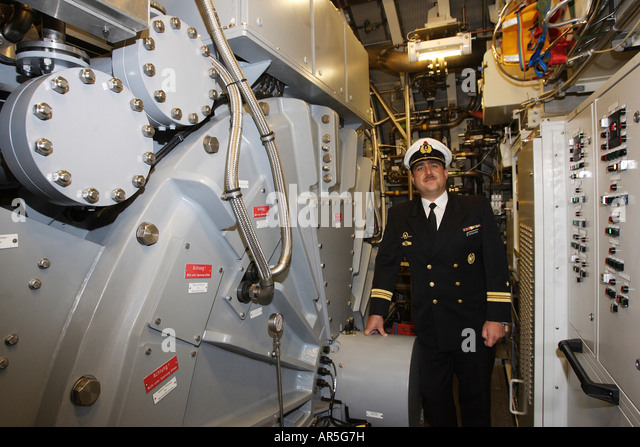 Engine compartment of the U32 - first fuel cell propelled submarine, Germany - Stock Image