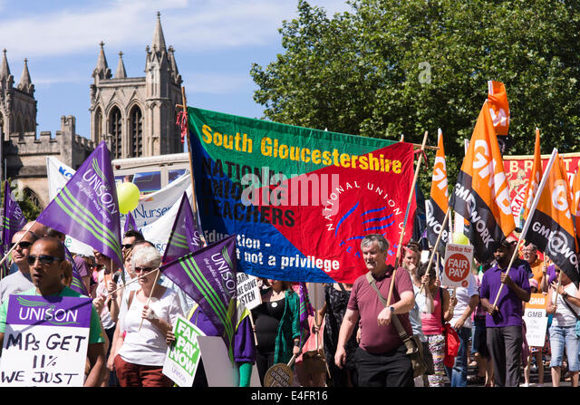 Bristol, UK. 10th July, 2014. Public sector workers have gone on strike today to protest at the British Governments - Stock Image