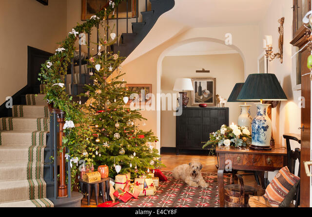 Christmas tree in entrance hall with early 20th century kilim. The hall table is French chestnut and the table lamps - Stock Image