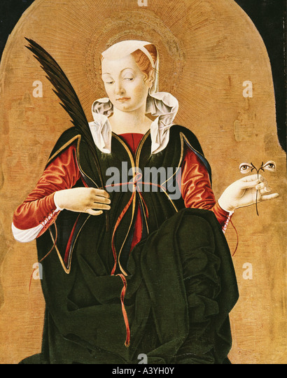 'fine arts, Cossa, Francesco del, (circa 1435 - circa 1477), painting, 'Saint Lucy', 1474, oil on Panel, - Stock Image