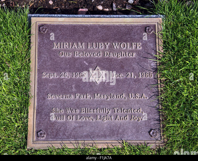 Lockerbie PanAm103 In Rememberance Memorial Miriam Luby Wolfe Severna Park Maryland Jewish religion, Scotland - Stock Image