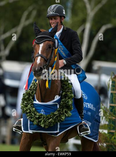 Hickstead, UK. 25th June, 2015. Trevor BREEN [IRL] riding LOUGHNATOUSA W B win The Equestrian.Com Derby.  Been went - Stock Image