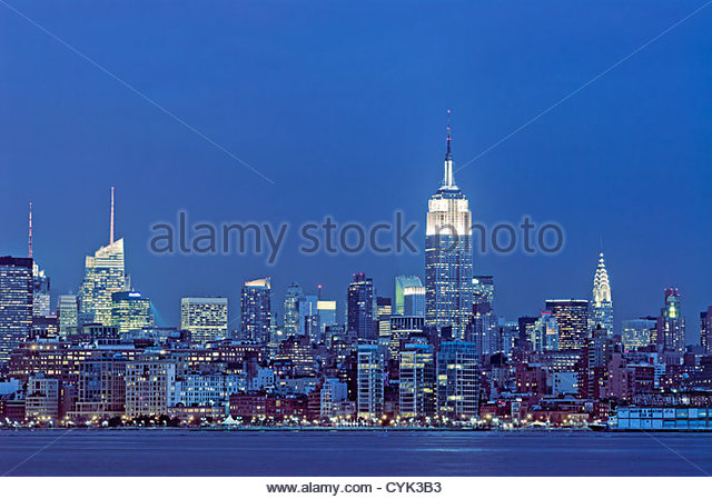 Manhattan Skyline with the Bank of America Building, the Empire State Building and the Chrysler Building, New York - Stock Image