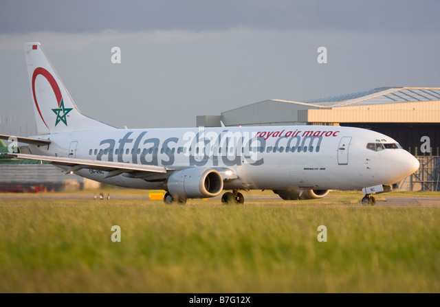 Atlas Blue (Royal Air Maroc - RAM) Boeing 737-4B6 at London Heathrow airport. - Stock Image