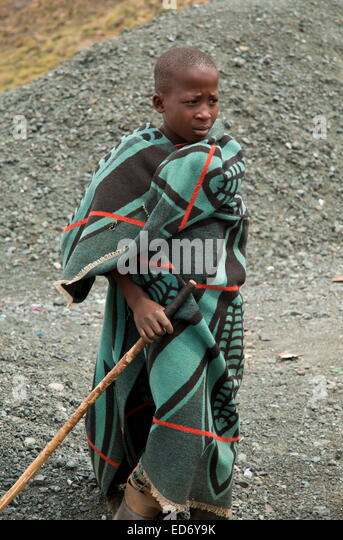 Shepherd boys, at high altitude in Lesotho, Drakensberg Mountains, Lesotho - Stock Image