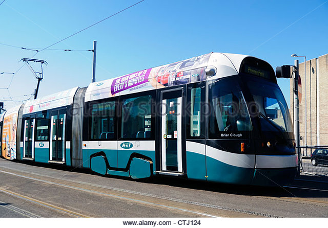 Tram named after 'Brian Clough' in Nottingham, UK. - Stock Image