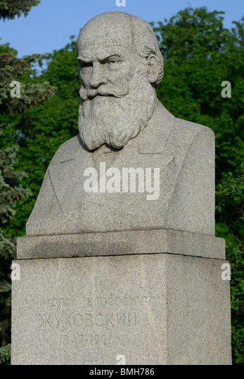 Statue of the Russian scientist Nikolay Yegorovich Zhukovsky (1847-1921) at the Lomonosov Moscow State University - Stock Image