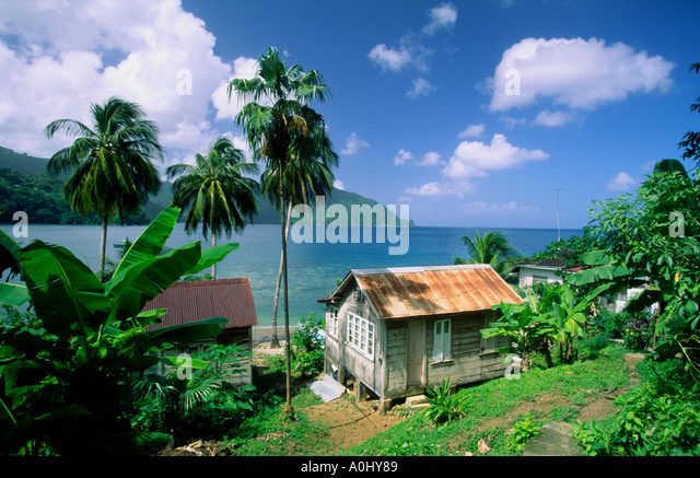 Tobago Charlotteville Man of War bay small hut - Stock Image