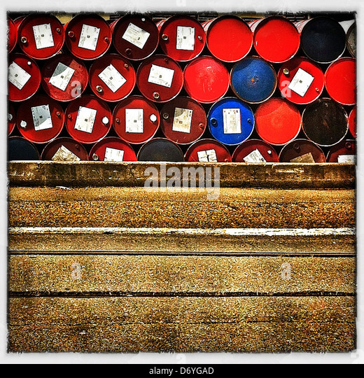Stack of industrial barrels - Stock Image