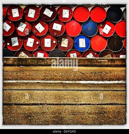 Stack of industrial barrels - Stock Image
