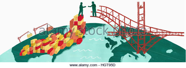 Businessmen bridging the gap between United States and Europe and shaking hands on trading links - Stock-Bilder