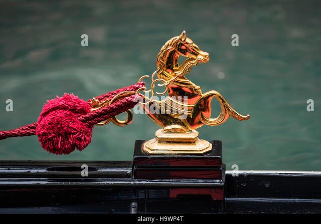 Gondola, gold statue, golden horse,  Venezia, Venice, Venedig, Italia, Europe, - Stock Image
