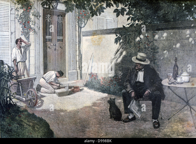 The Good Bourgeois'  (middle-class) after Henri Brispot (1846-1928).  Frenchman sits in his town garden while - Stock Image