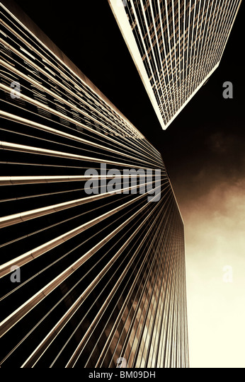 Bottom of the Twin Towers in Los Angeles sister buildings of the World Trade Center in New York same architect designing - Stock Image