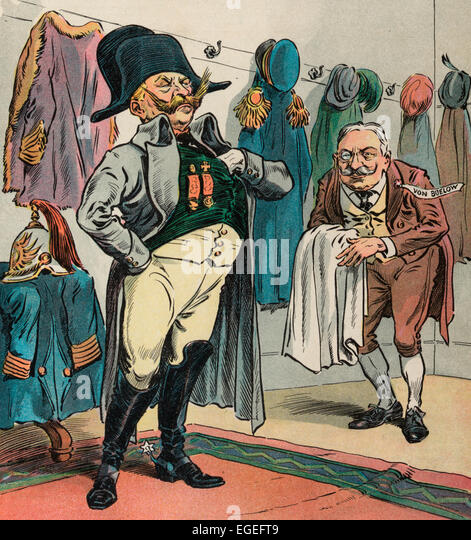 The Ready made Napoleon. William II, emperor of Germany, exchanging his coat and helmet for a hat and coat in the - Stock Image