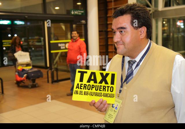 Chile Santiago Comodoro Arturo Merino Benítez International Airport aviation terminal ground transportation - Stock Image