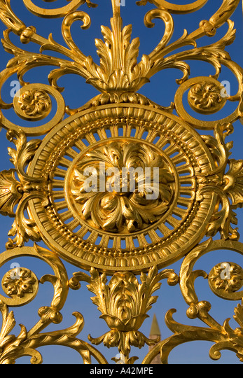 Paris France Detail of golden fence gate Tuileries Garden - Stock Image