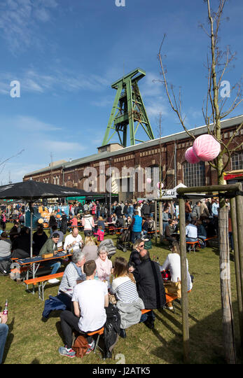 Street food festival, in the  closed Lohberg colliery,  in Dinslaken, - Stock Image