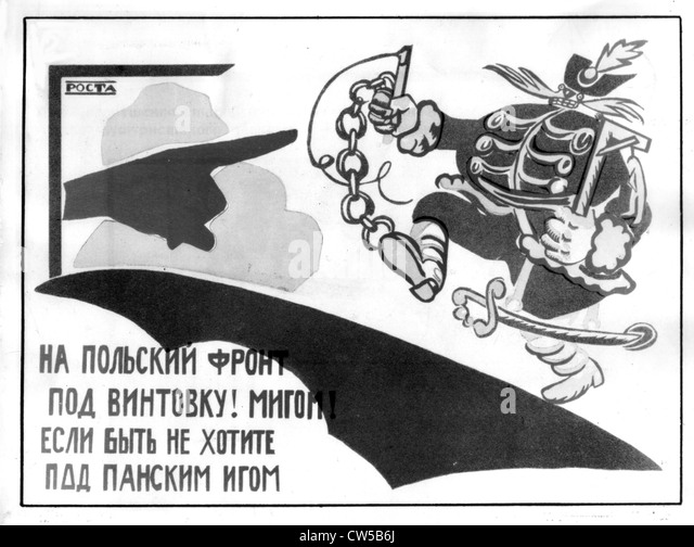 Mayakovsky, Poster : 'Seize the weapons on the Polish front if you don't want to find yourself under the - Stock Image