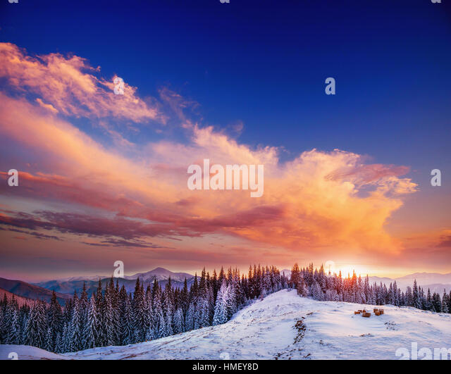 fabulous sunset in the mountains - Stock Image