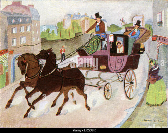 Carriage and two horses, impression of a Paris street in 1831.  Illustration from 1930 by L. Teissier du Cros. - Stock Image