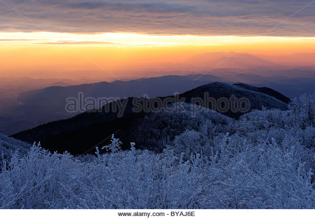 Winter mountain forest and beautiful sunset - Stock Image