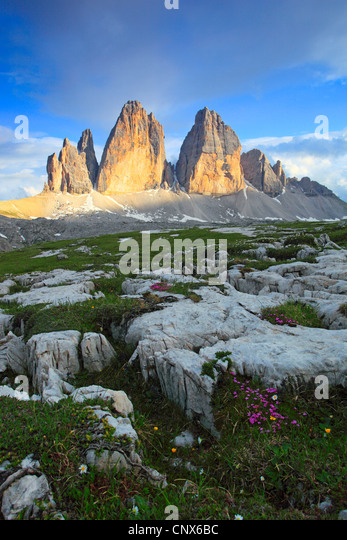 impressive mountain formation 'The Tre Cime di Lavaredo' ('Three Peaks' / 'Big Peak' 2999 - Stock Image