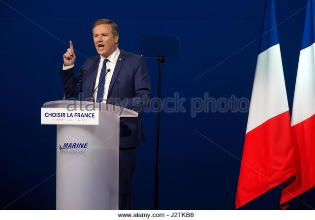 Villepinte, France. 1st May, 2017. Former French presidential election candidate for the right-wing Debout la France - Stock Image