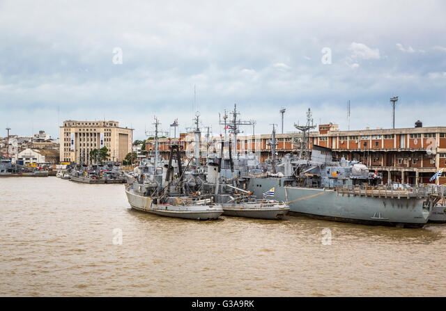 Navy ships in the port in Montevideo, Uruguay, South America. - Stock Image