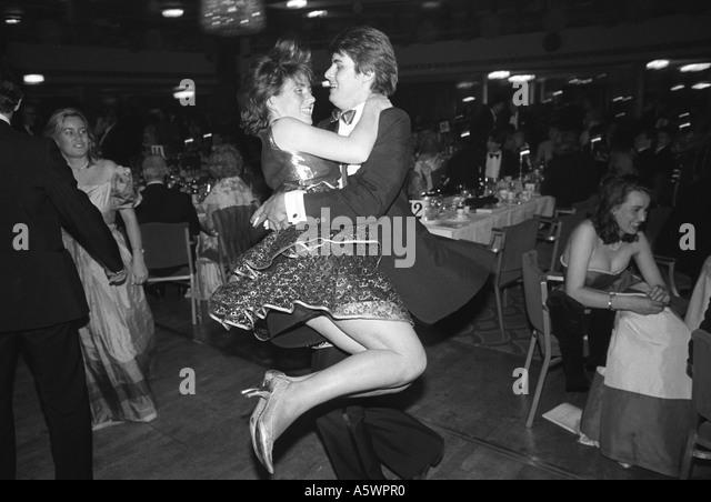 Sloan Ranger types at the annual Rose Ball Grosvenor House  Hotel London England 1982 - Stock-Bilder