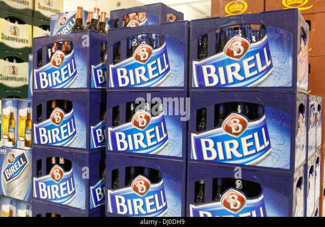 Shopping in department stores, shops and supermarkets, non-alcoholic Czech beer Birell crate sign store, Czech Republic - Stock Image