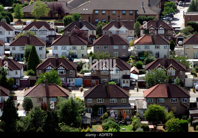 Aerial View of street with 1930 s semi detached housing in Suburb of Tolworth near Kingston Upon Thames England - Stock-Bilder
