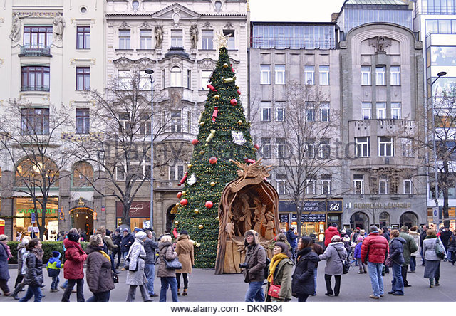 Traditional Christian Xmas decorations at Wenceslas Square in Prague Czech Republic. - Stock Image