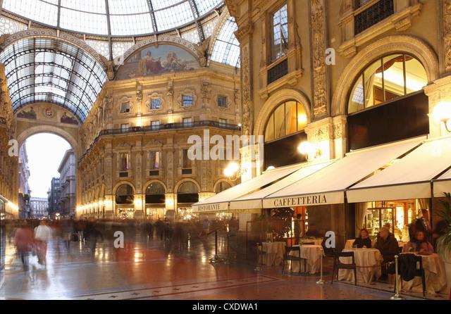 Restaurant, Galleria Vittorio Emanuele, Milan, Lombardy, Italy, Europe - Stock Image