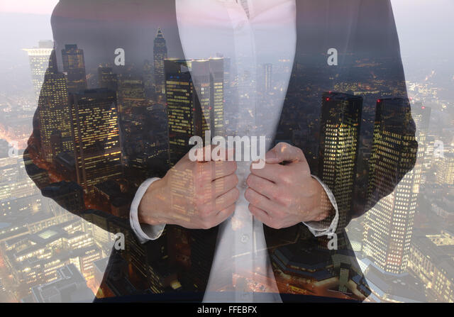 Business man woman businesswoman businessman career success manager city double exposure successful - Stock Image