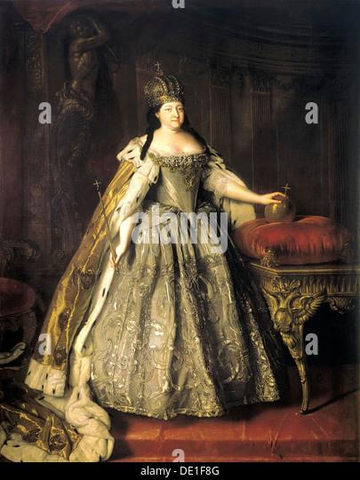 'Portrait of Empress Anna Ioannovna', (1693-1740), 1730.  Artist: Louis Caravaque - Stock Image