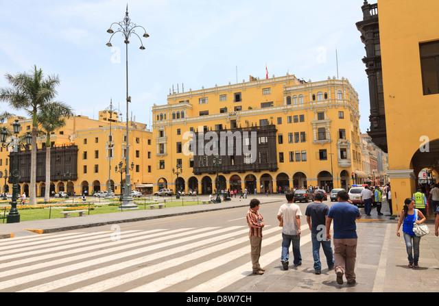 Municipalidad de Lima, City Hall, Plaza Mayor, Lima, Peru - Stock Image