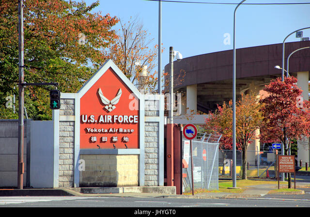 U.S. Air Force Yokota Air Base Gate 2 in Fussa city Tokyo Japan - Stock Image