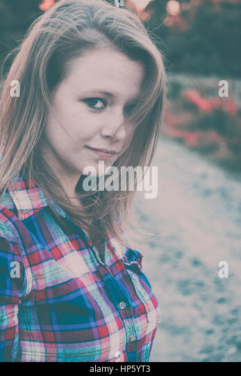 Sad depressed woman concept - Stock Image