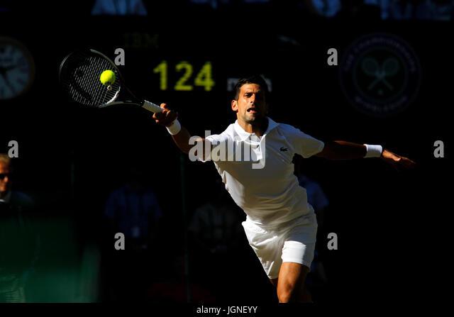 London, UK. 08th July, 2017. Wimbledon Tennis: London, 8 July, 2017 - Novak Djokovic of Serbia in action against - Stock Image