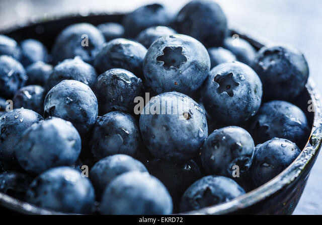 fresh Blueberries in a bowl - Stock Image