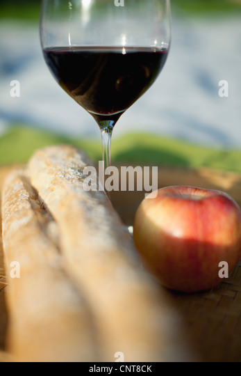 Apple, glass of wine and bread - Stock-Bilder